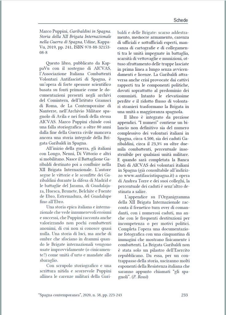 Rensione Garibaldini in Spagna